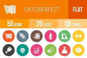 50 Oktoberfest Flat Round Icons