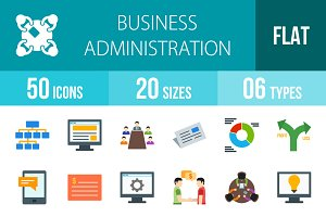 50 Business Administration Flat Icon