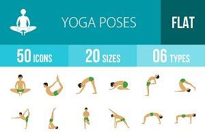 50 Yoga Poses Flat Icons