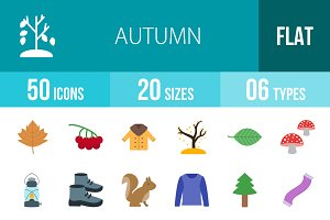 50 Autumn Flat Icons