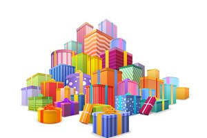 Big mountain of wrapped gift boxes