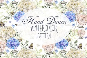 6 Hand Drawn Watercolor PATTERNS