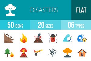 50 Disasters Flat Icons