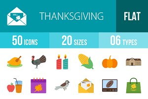 50 Thanksgiving Flat Icons
