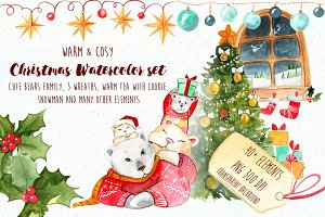 Christmas bears watercolour set