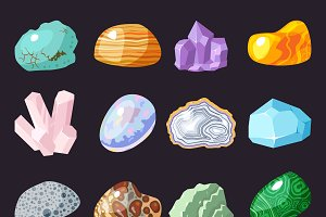 Vector semi precious gemstones