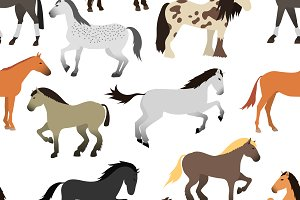Vector horse seamless pattern