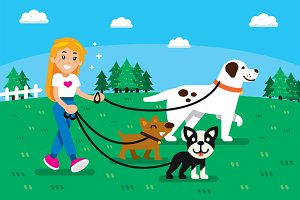 Dog Sitter Illustration Clipart
