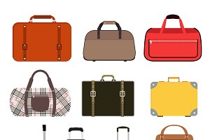 Travel bag vector set