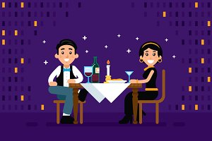 Romantic Dinner Illustration Clipart