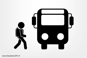 bus and man