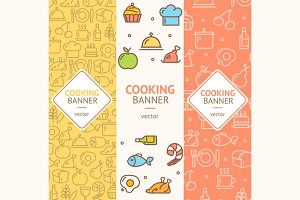 Cooking Banner Flyer Set. Vector
