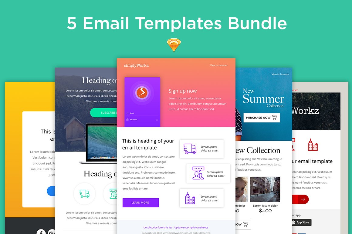 5 email templates bundle sketch email templates for Designing an email template