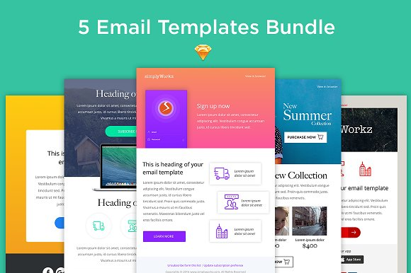 5 Email Templates Bundle Sketch