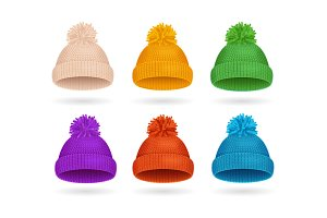Knitted Color Hat Winter Set
