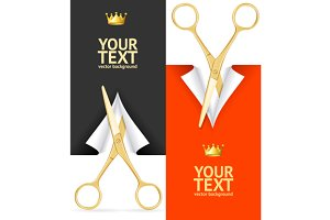 Scissor Banner Set. Vector