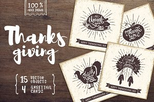 15 Hand Drawn Objects + 4 Cards