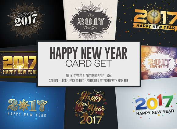 happy new year card invitation set graphics