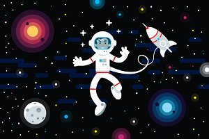 Space Astronaut Illustration Clipart
