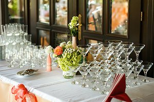 The wedding buffet table