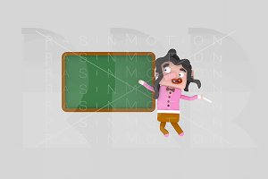 3d illustration. Girl school board.