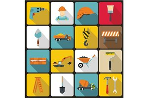 Construction icons set in flat style