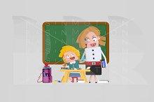 3d illustration. Teacher and Student