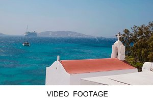 Greece house pink flowers blue sea