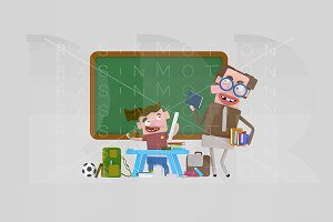 3d illustration. Teacher and student
