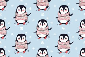 Seamless Pattern with Penguin