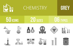 50 Chemistry Greyscale Icons