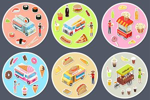 Isometric Street Food Trucks Set