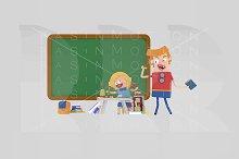 3d illustration. Happy teacher.