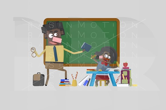 3d illustration. Black teacher. - Illustrations