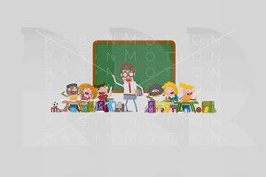 3d illustration. Happy Classroom.
