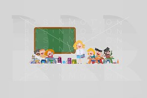 3d illustration. Happy classroom.