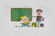 3d illustration. Angry teacher.