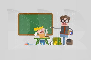 3d illustration. Angry teacher.