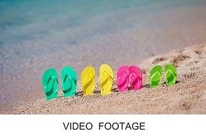 Flip flops in front of the sea