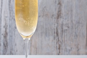 Champagne glass and cork