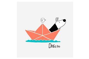 Dog & Bird in a paper boat