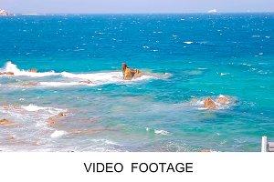 Huge waves crashing of Mykonos rocks