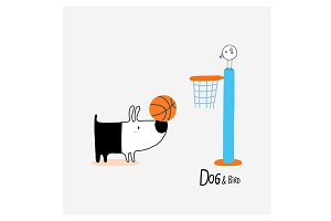 Dog & Bird playing basketball