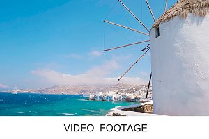 Old windmills over town of Mykonos