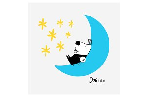 Dog & Bird in the Moon