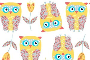 6 vector owls patterns
