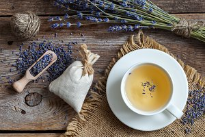 Lavender flowers, tea and sachets