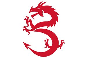 Red Dragon Prancing Silhouette Retro