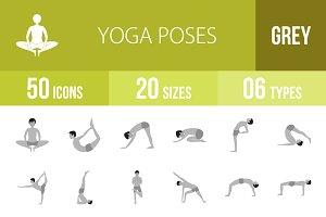 50 Yoga Poses Greyscale Icons