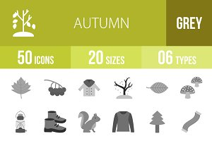 50 Autumn Greyscale Icons